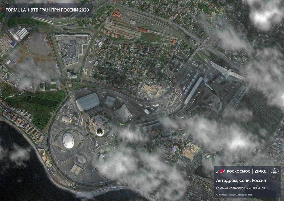 «Роскосмос» показал, как выглядит автодром гонок «Формулы 1».