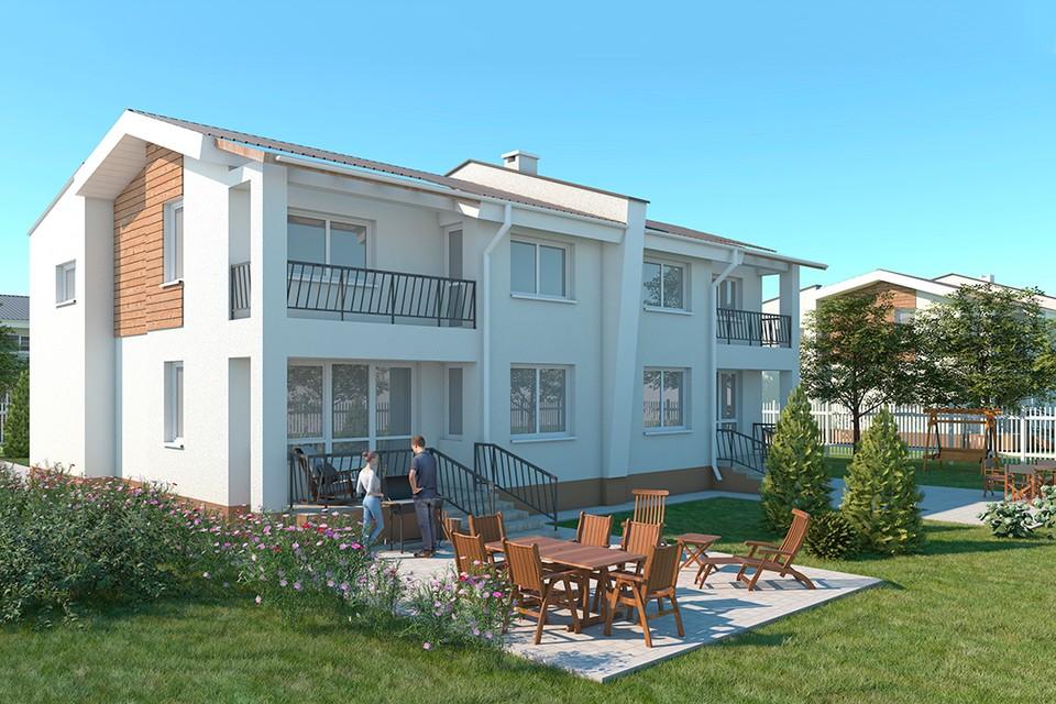 Так будут выглядеть усадебные дома на две многодетные семьи. У каждой - отдельный вход, участок, двор с машиноместом.