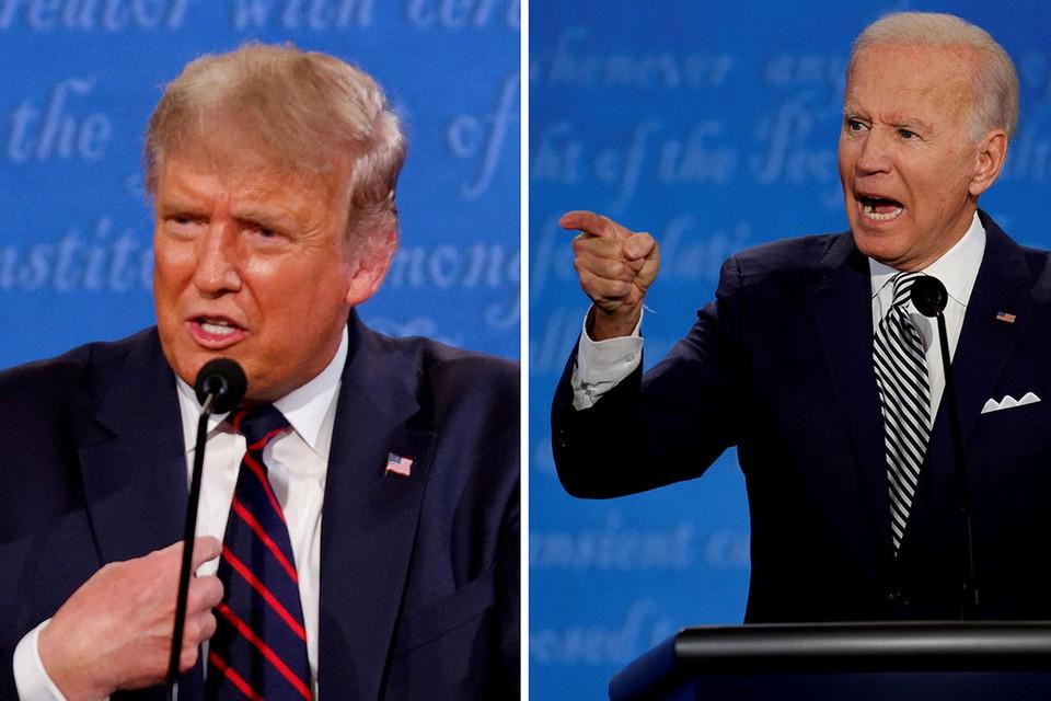 Дональд Трамп и Джо Байден во время дебатов.