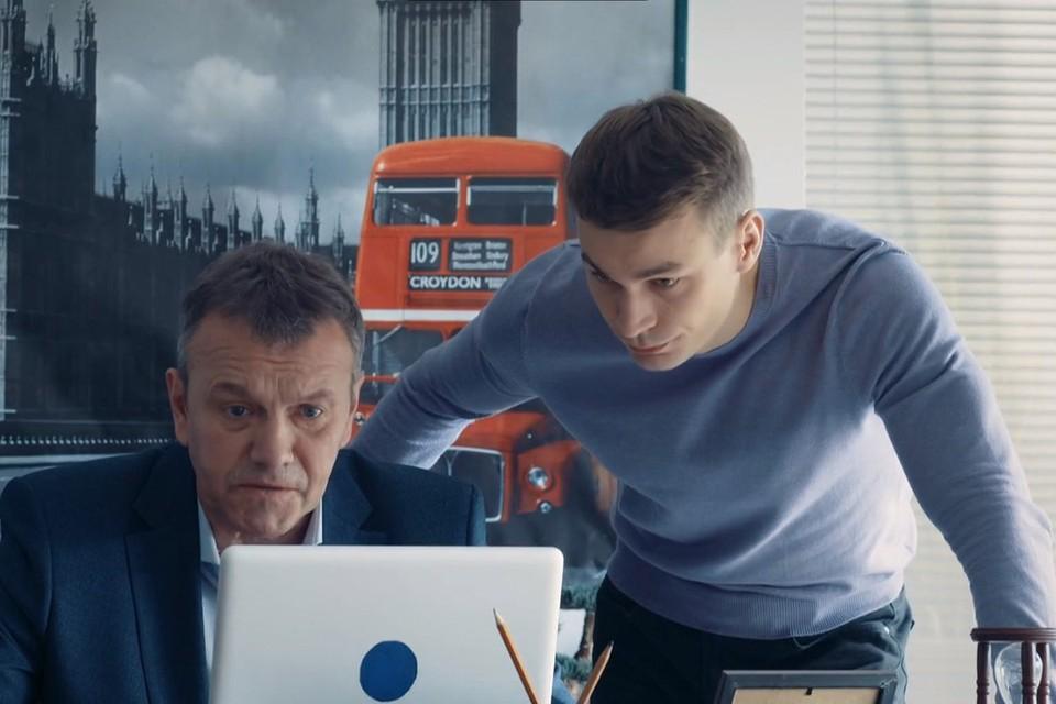 Олигарх Сазонов (Александр Наумов, слева) даже не подозревает, что его сын (Кирилл Кузнецов) - вовсе и не его сын…