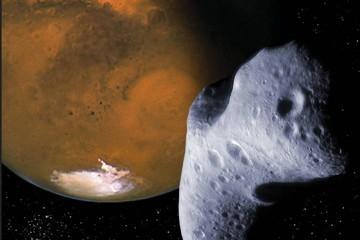 Планету Марс преследует осколок Луны