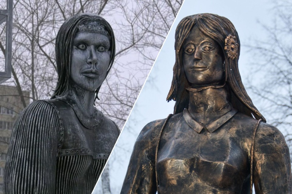 После Аленки из Нововоронежа (на фото слева) досталось и скульптуре в Сибири (на фото справа). Фото: Марина БЕЛОГЛАЗОВА/Алена МАРТЫНОВА.