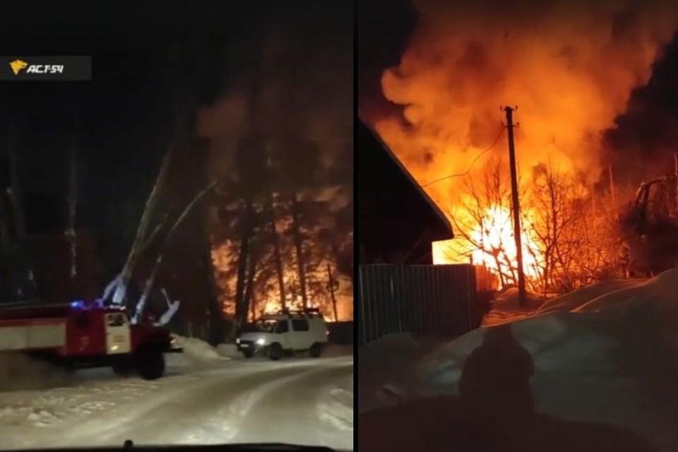 Пожар на турбазе «Бердская заимка» под Новосибирском 2 января 2021 года засняли на видео очевидцы. Фото: Кадр из видео