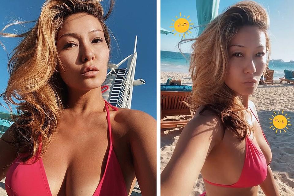 Телеведущая Марина Ким демонстрирует формы на пляже ОАЭ, куда прилетела вести концерт.