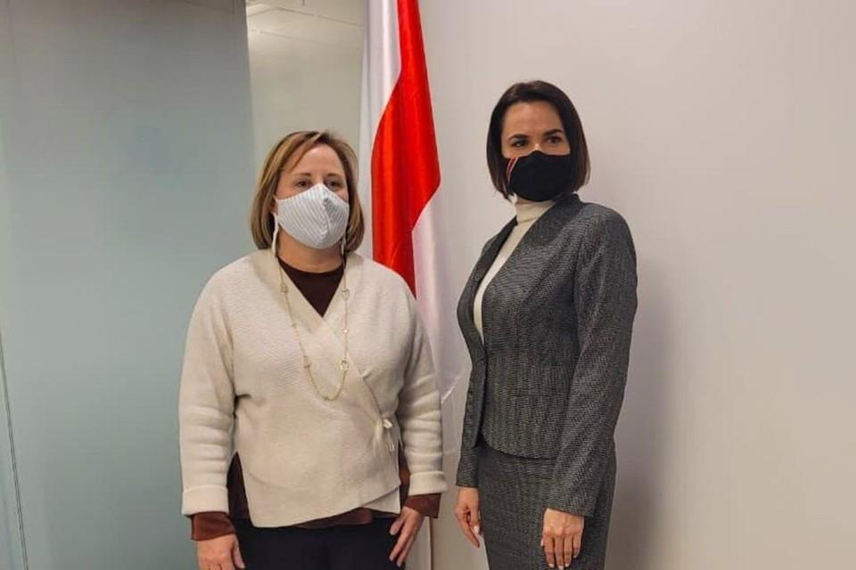 Джули Фишер и Светлана Тихановская провели переговоры. Фото: telegram