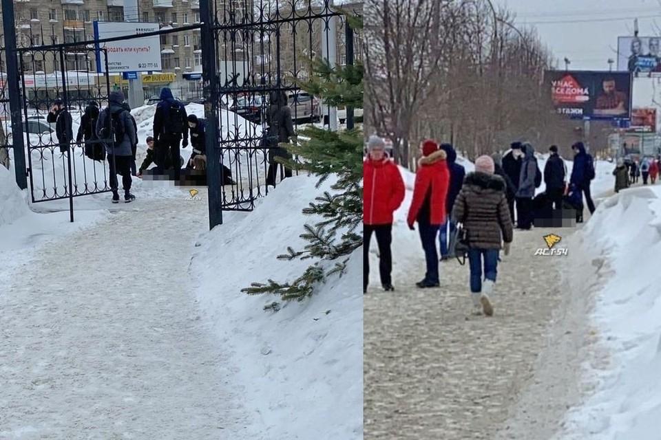 """В Новосибирске, 16 февраля, около НГТУ произошла драка с поножовщиной. Фото: """"АСТ-54"""""""