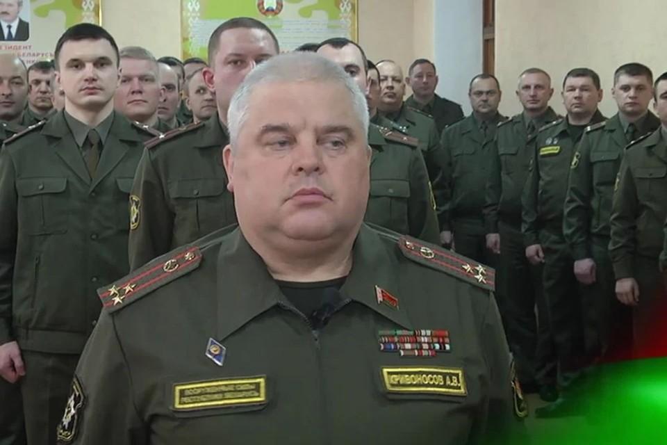 """Полковник Кривоносов передал """"заряд энергии и решителньости"""" от Лукашенко. Фото: скриншот видео Telegram"""