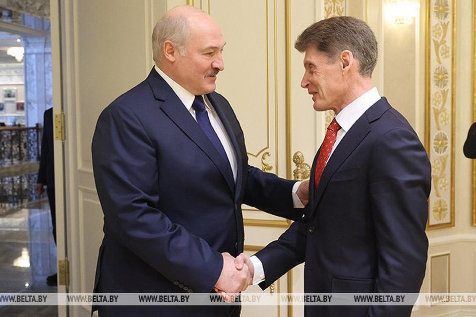 Президент Белоруссии Александр Лукашенко встретился с губернатором Приморского края Олегом Кожемяко. Фото: агентство БелТА
