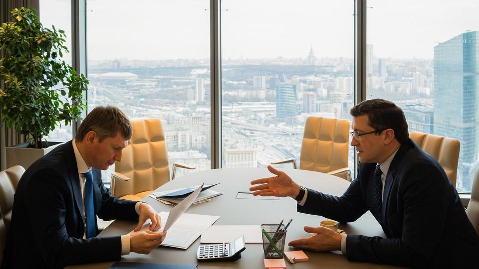В ходе встречи Максим Решетников и Глеб Никитин обсудили инвестиционные проекты региона. Фото: пресс-служба Минэкономразвития РФ