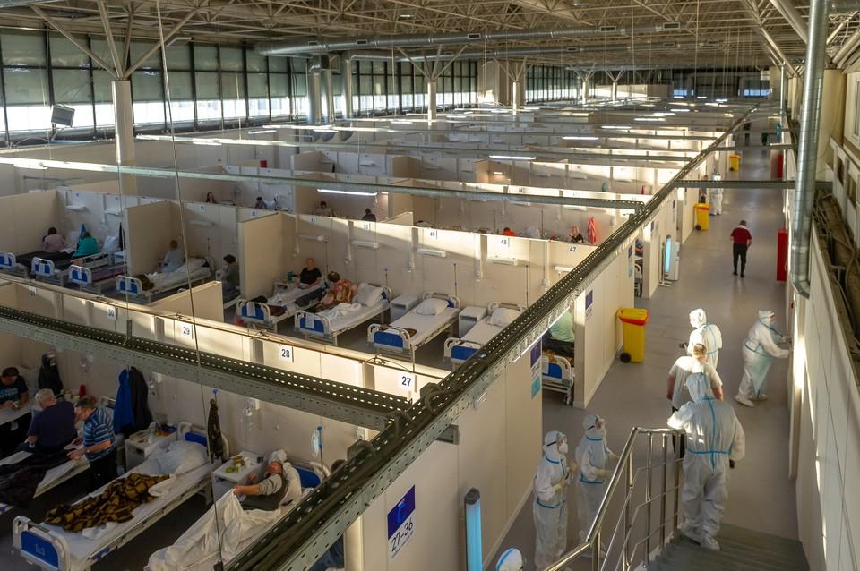 Максимальная загрузка госпиталя в «Ленэкспо» - почти 2 500 пациентов.