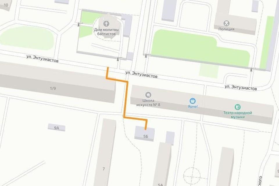 На двое суток будет перекрыта дорога на Энтузиастов в районе дома №5 - с 20 часов пятницы, 28 мая, до 20 часов воскресенья, 30 мая