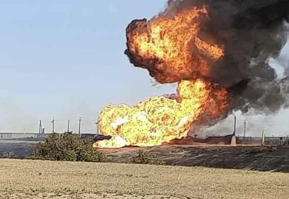 Пожар на газопроводе в Саратовской области