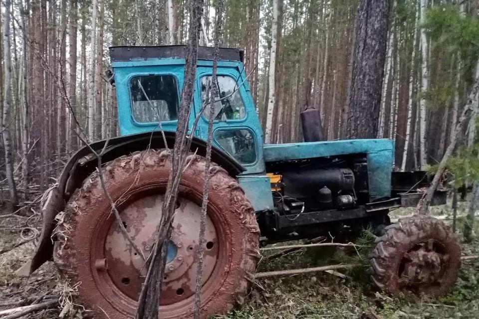 Грузовик, а также трактор и спиленный лес изъят у черных лесорубов.