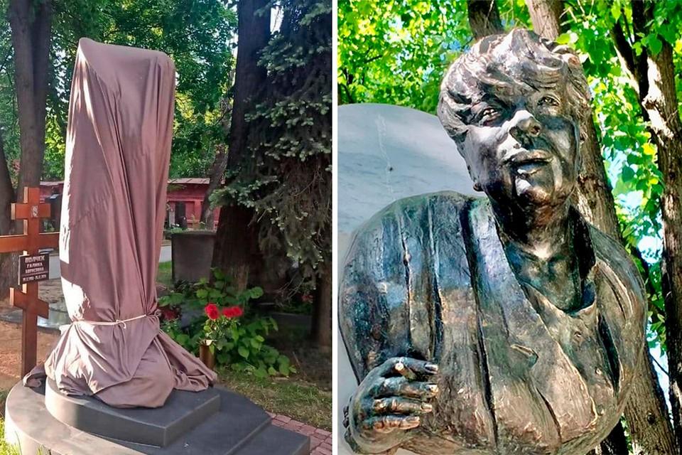 Памятник раздора на могиле Галины Волчек накрыли брезентовым чехлом.