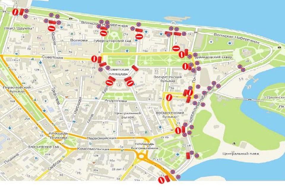 С 7 утра до вечера для проезда транспорта закроют почти все центральные улицы