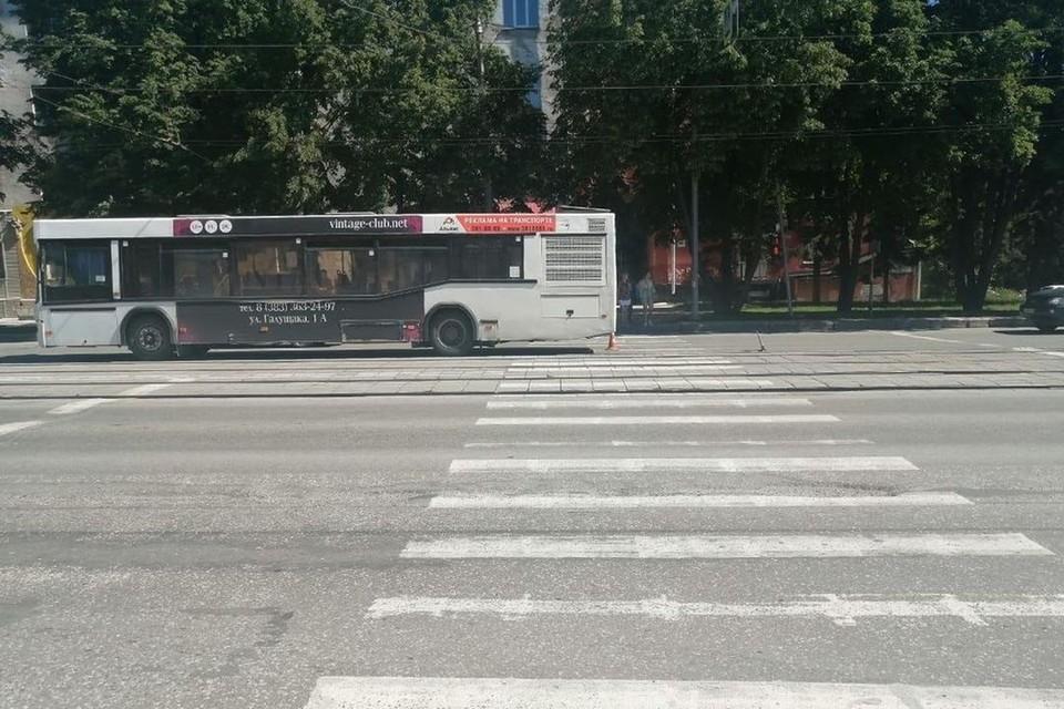 Пассажирский автобус сбил на пешеходном переходе школьника. Фото: ГИБДД по Новосибирску