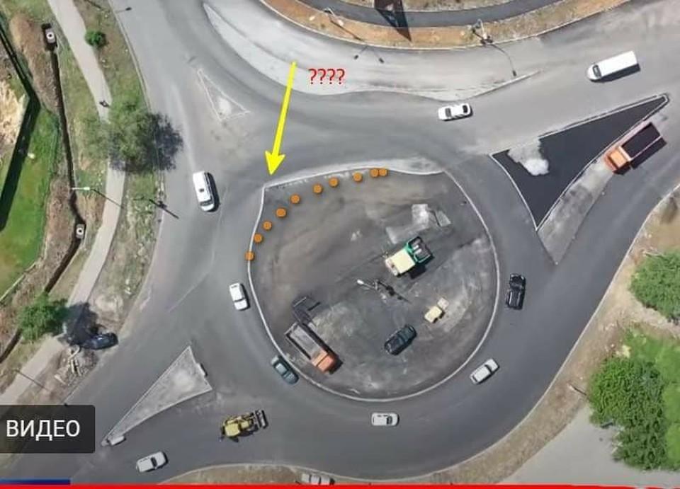 Так выглядит турбо-кольцо на перекресте улицы Землячки и проезда Дорожников. Кадр видео ТРК Волгоград-24