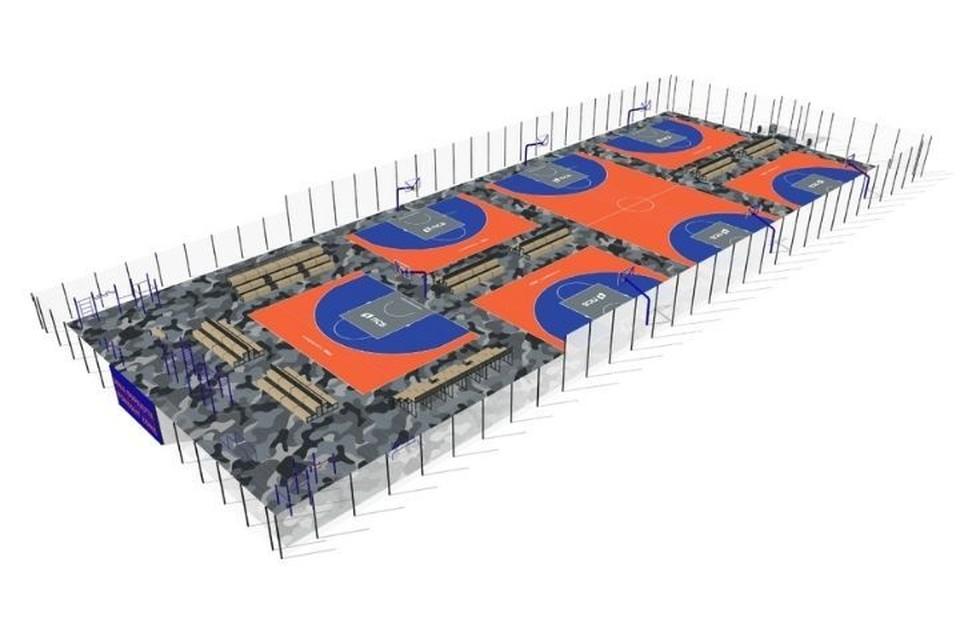 Так будет выглядеть новый центр уличного баскетбола в Чебоксарах. Фото: мэрия города Чебоксары
