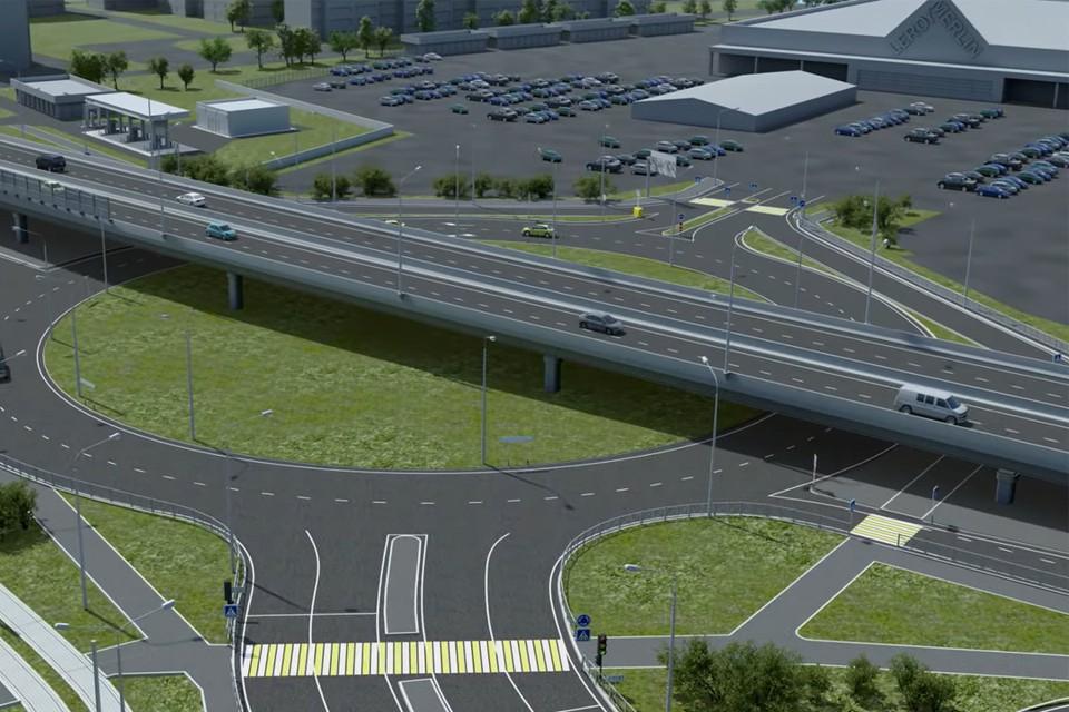 На участке между улицами Архитектора Свиязева и Промышленной дорога будет расширена до шести полос. Фото: кадр из видео.