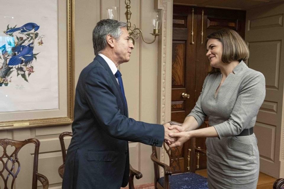 В США Светлана Тихановская встретилась с с госсекретарем США Энтони Блинкеном. Фото: пресс-служба Светланы Тихановской