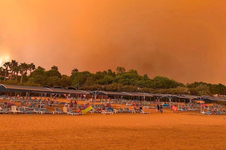 Лесные пожары окрасили небо Турции в красный цвет