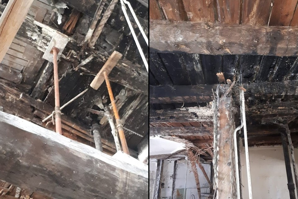 В Тучковом переулке рухнул потолок в одном из жилых домов. Фото: vk.com/spb_today_unreleased