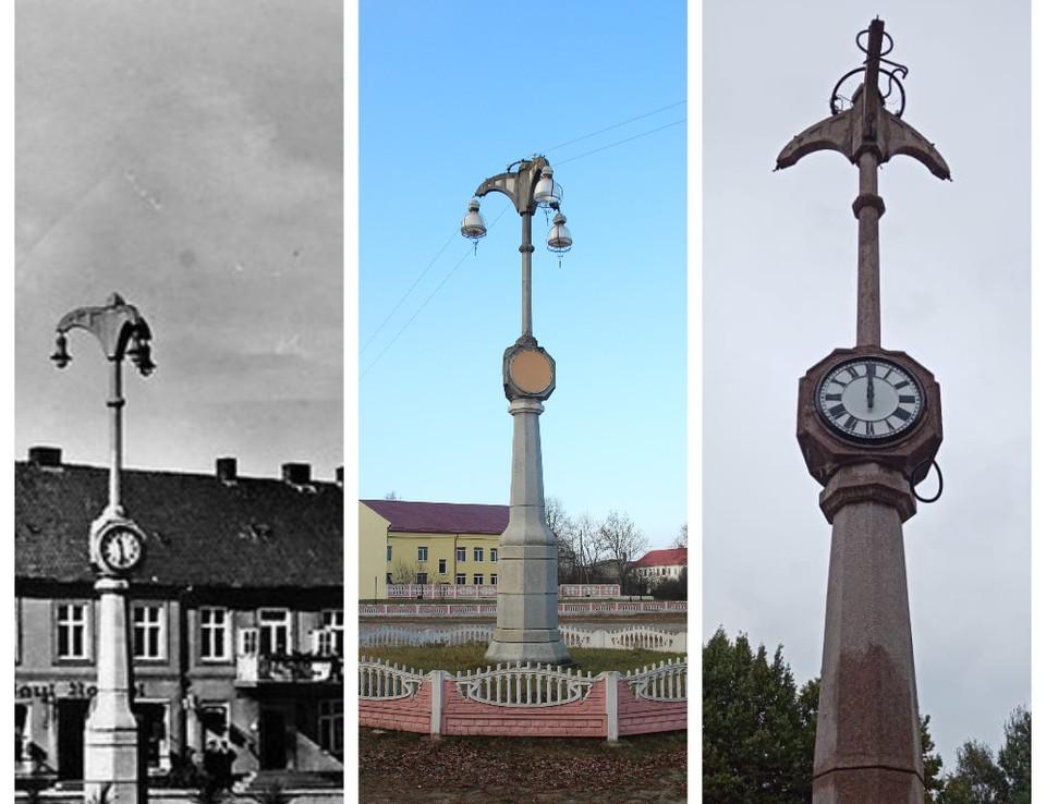 Фонарный столб с часами в 1930-е, 2015 году и сейчас (плафоны еще обещают довесить)