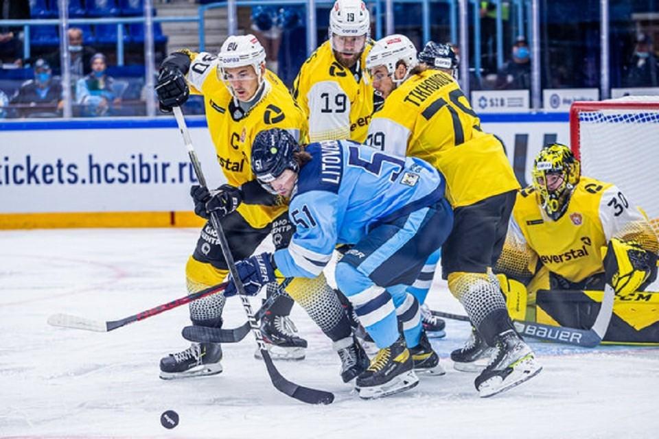"""ХК «Сибирь» проиграл команде из Череповца в первом домашнем матче. Фото: ХК """"Сибирь""""."""