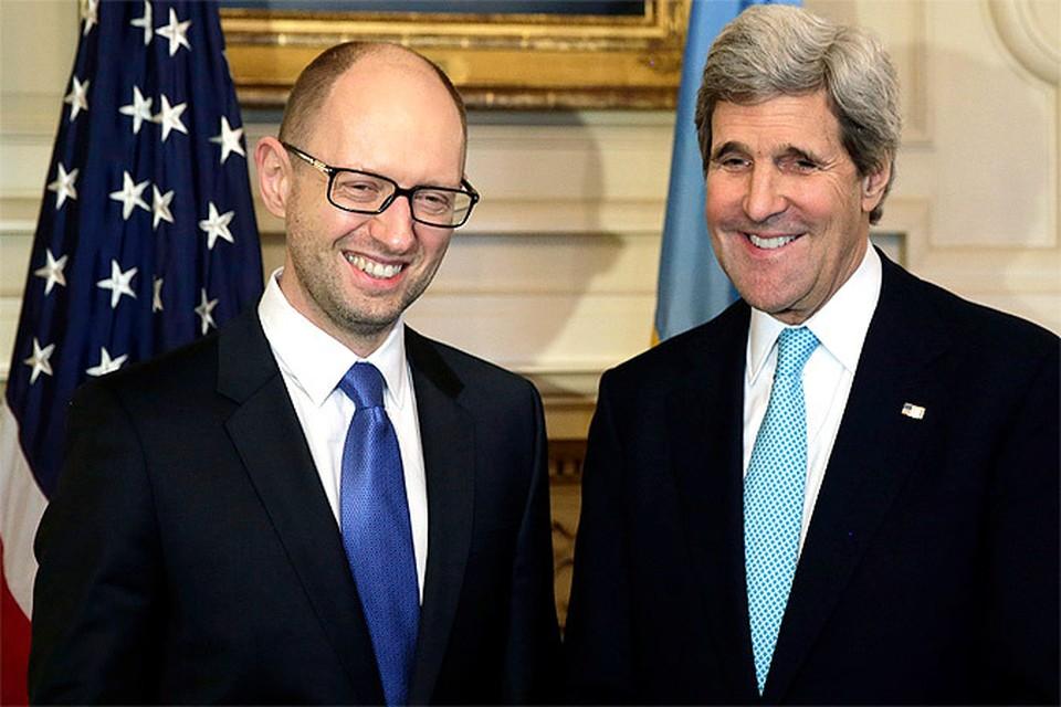 Премьер-министр Украины Арсений Яценюк и госсекретарь США Джон Керри