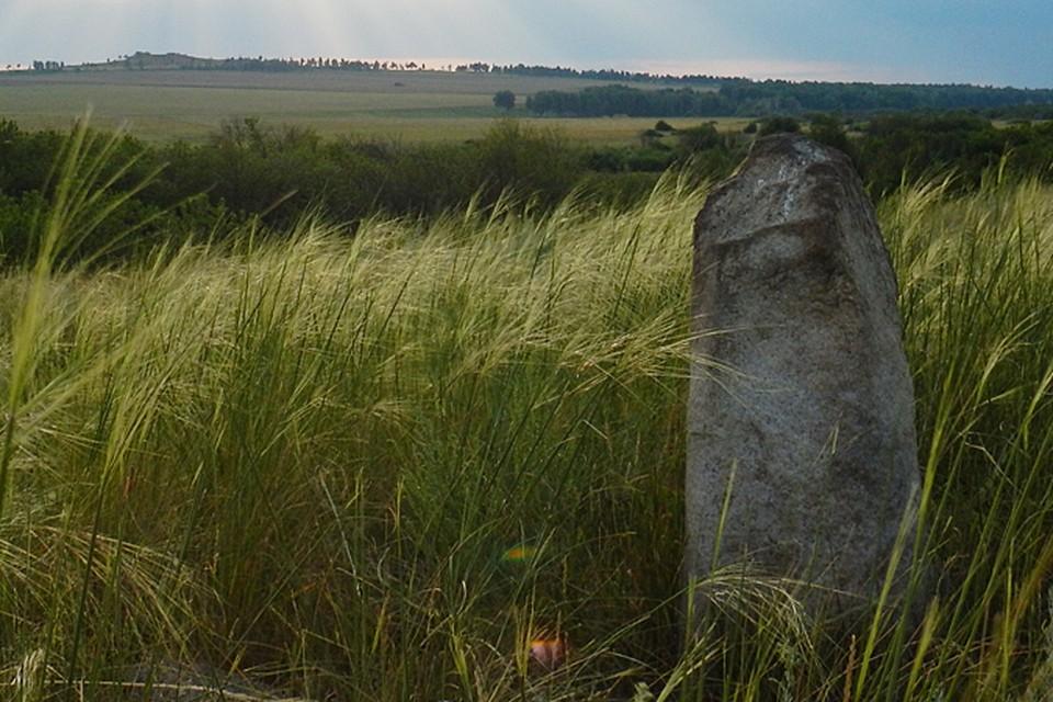 Менгир в поле у реки Уй. Фото - Николай Субботин