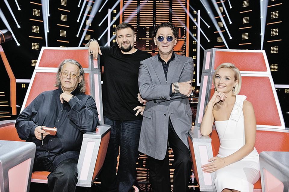 Новый состав жюри шоу «Голос»: Александр Градский, рэпер Баста, Григорий Лепс и Полина Гагарина.