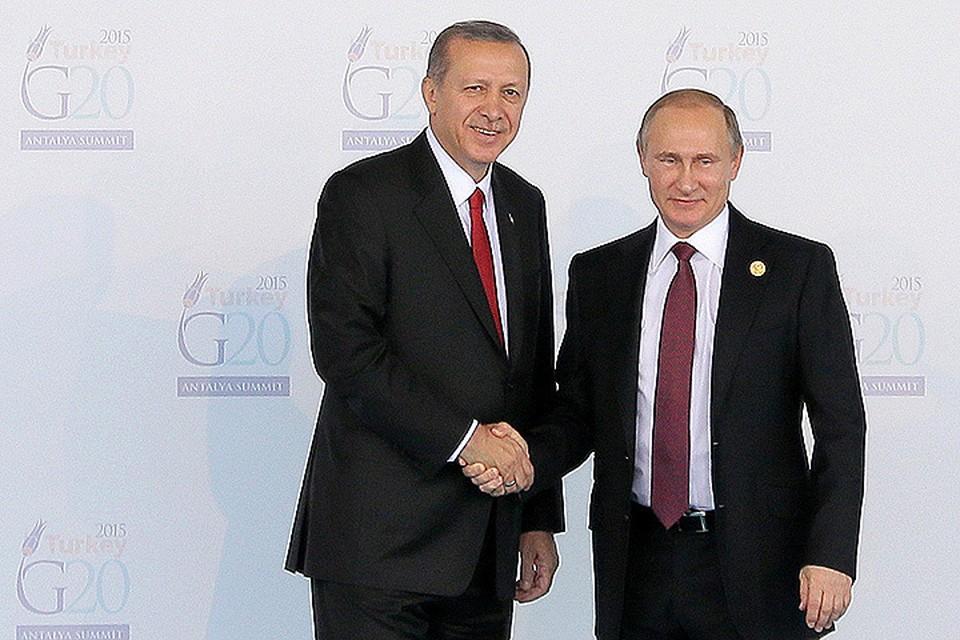 Путин и Эрдоган во время встречи на саммите G20 в Антальи в ноябре 2015 г. ФОТО Михаил Метцель/ТАСС