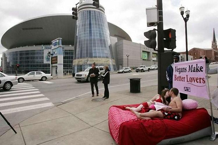 Веганы, по мнению самих веганов, такие крутые любовники, что могут отжигать и на людях. Фото: peta.org