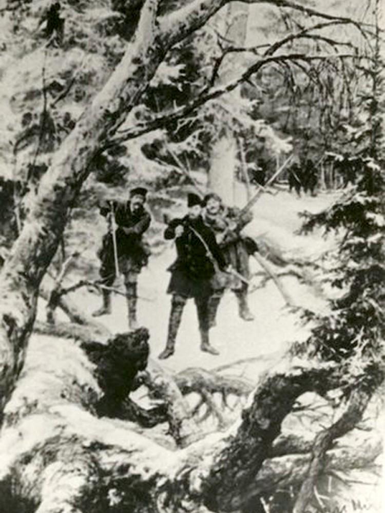 Картина «Паляванне графа Тышкевіча» художника Андриолли выставлялась в Логойском музее.