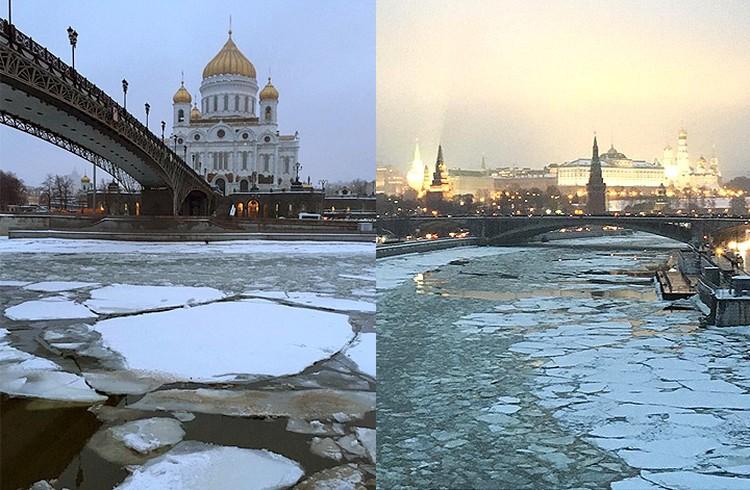 На Москва-реке начался ледоход. Фото: Инстаграм @mlleellee