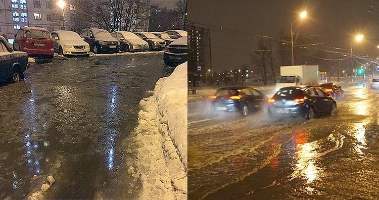 Во дворах и на улицах Москвы - настоящий потоп. Автомобилистам приходится прыжками добираться до авто, пешеходы вынуждены искать обходные пути. Фото: Инстаграм @mapat83, @proreutov