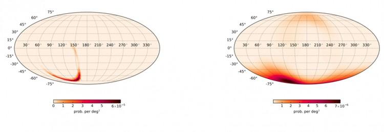 Слева: приблизительное расположение источника событие, зарегистрированного LIGO. Справа - расположение гамма-вспышки, уловленной Fermi.