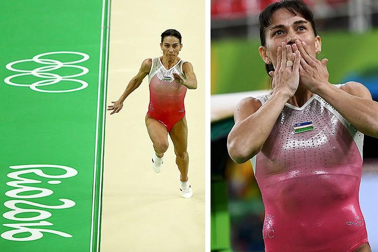 Оксана Чусовитина на соревнованиях по опорному прыжку в олимпийском Рио-де-Жанейро.