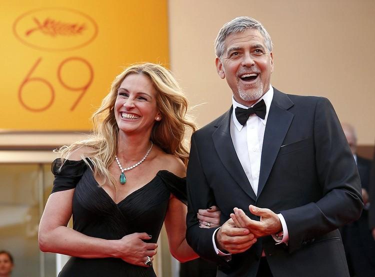 Джулия Робертс с Джорджем Клуни на фестивале в Каннах