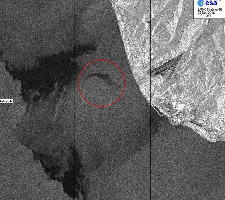 Институт космических исследований РАН опубликовал радиолокационное изображение зоны крушения российского самолёта Ту-154 под Сочи. Фото: press.cosmos.ru