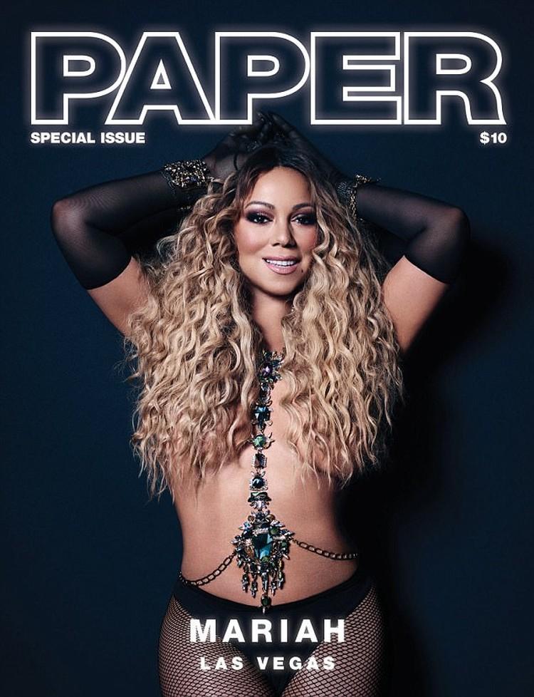 Мэрайя сфотографировалась для обложки Paper топлесс: пышную грудь певицы прикрывают только ее роскошные локоны.