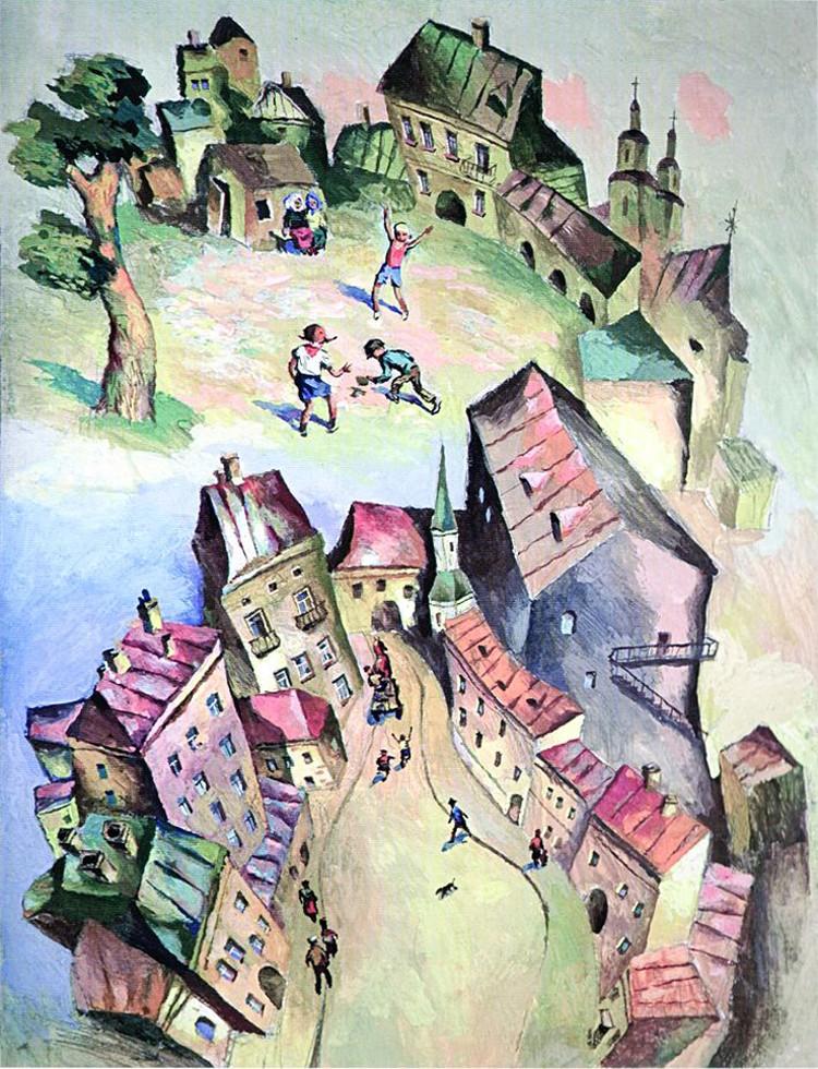 В таких кварталах и прошло минское детство Леонида Шварцмана, таким он его запечатлел на своих картинах. Фото: личный архив