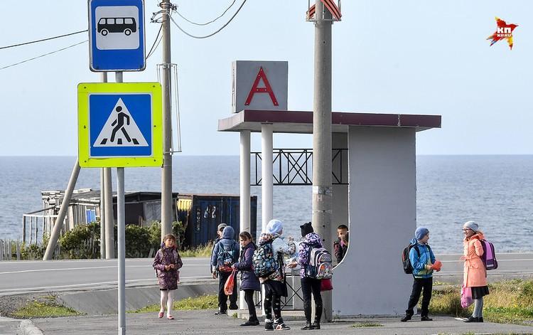 После уроков школьников из соседних поселков Ясный и Китовый, по домам развозит автобус от остановки рядом со школой