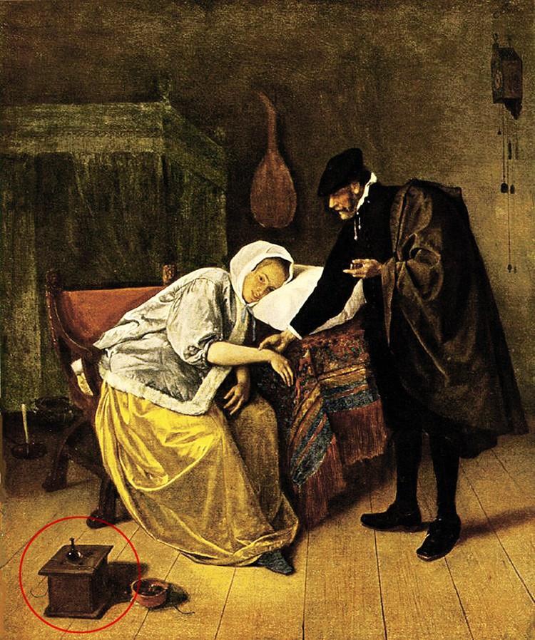 Грелка для ног на картине Яна Стена «Мнимая больная». 1665 год. Ян Стен. Больная и врач. Амстердам, Рийксмузей.