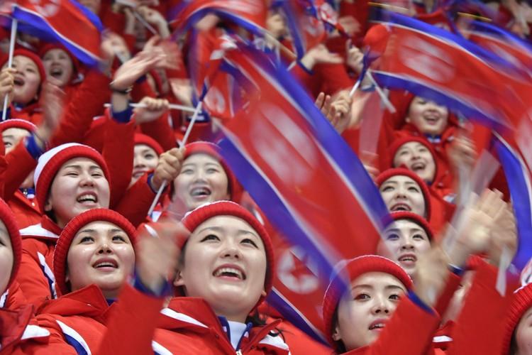 Северокорейские болельщики на трибунах.