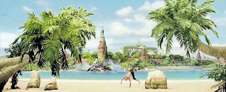 По сюжету существа из главной Вселенной - Аркана постоянно меняют нашу, используя ее как черновик. В одном из миллионов вариантов в России - тропический климат и возле Кремля растут пальмы. А получилось-то неплохо. Фото: Кадр из фильма