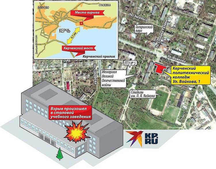 Схема массового убийства в керченском колледже.