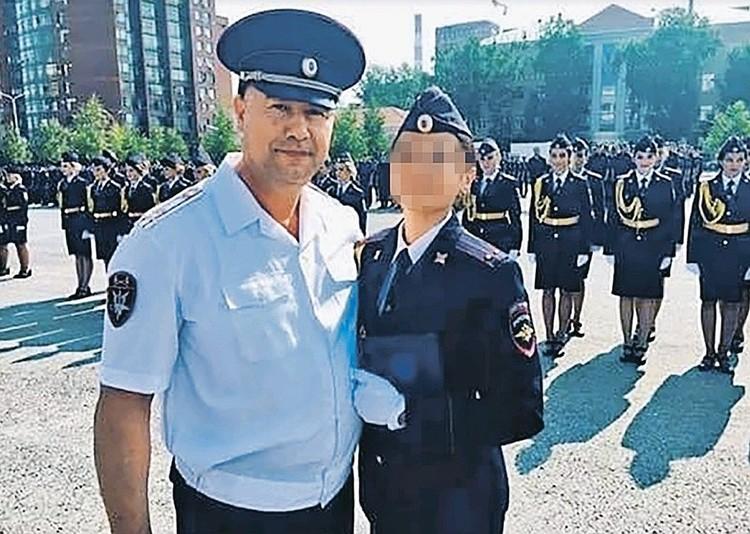 Потерпевшая курсантка Гульназ с папой, командиром ОМОНа Башкирии Иреком Сагитовым.