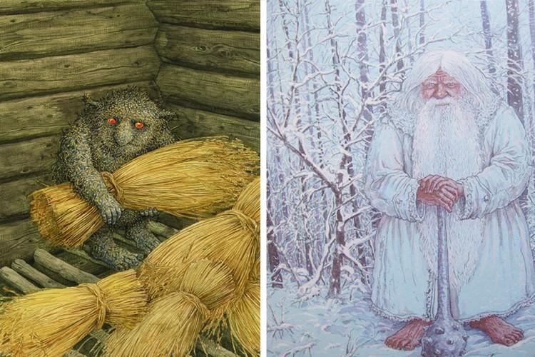 Таким образ Зюзи (справа), совершенно не похожим на Деда Мороза или Санта Клауса, увидел знаменитый белорусский график Валерий Слаук. А слева его видение Евника. Фото: mythology.by