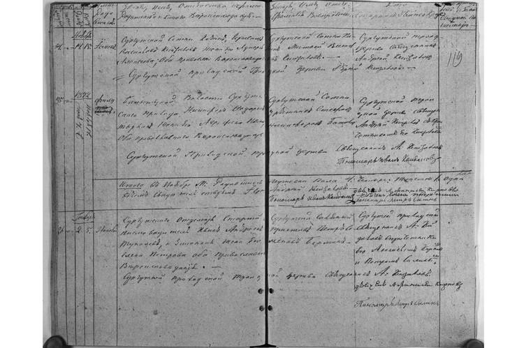 Запись о рождении Николая Туполева, внизу слева - имя в первой графе, потом - имена родителей. Фото из архива